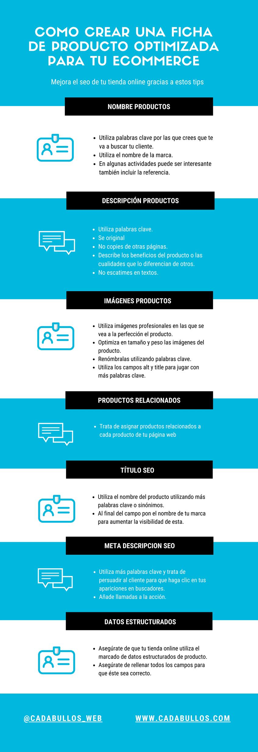 Infografía con tips para mejorar el seo de tus productos en tu tienda online